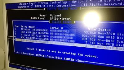 RAID設定画面(2)