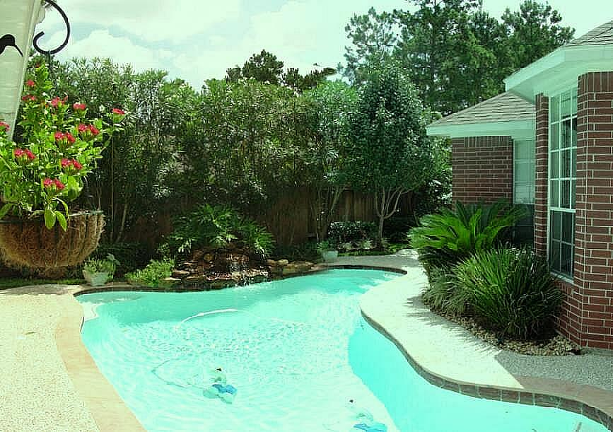 Backyard landscape designs creating a natural privacy for Pool privacy screen
