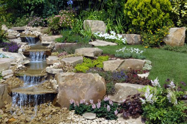Waterfalls as landscape garden design elements wycepypa for Backyard ponds and water features