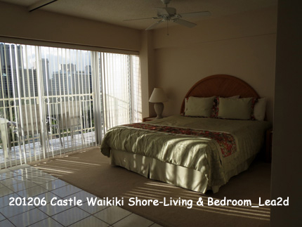 2012年6月 Castle Waikiki Shore1 - 1 Bedroom / 1 Bath Deluxe Ocean View-Living & Bedroom