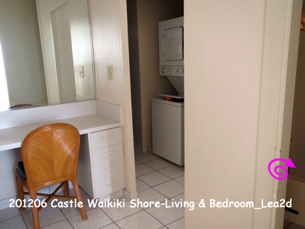 2012年6月 Castle Waikiki Shore1 - 1 Bedroom / 1 Bath Deluxe Ocean View-Living & Bedroom