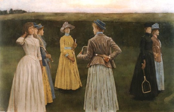 Memories (Lawn Tennis) by Fernand Khnopff (1858-1921). 1889. Pastels on paper. 127 x 200 cm