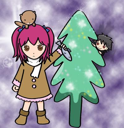 カワウソとクリスマス背景つき