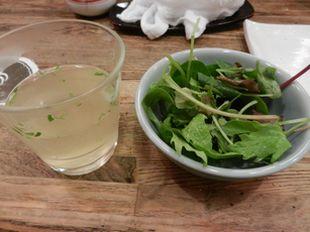 伊勢廣 鶏スープとミックスベビーリーフ