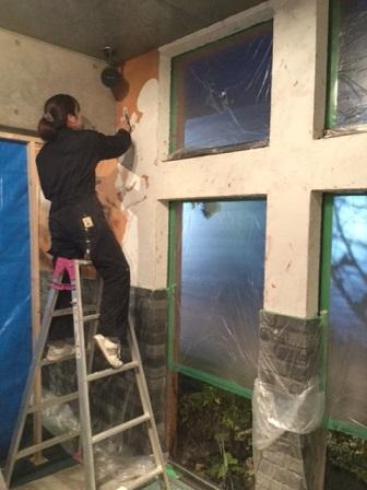 喫茶店改造計画壁漆喰