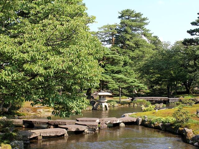 真夏の兼六園 緑の曲水