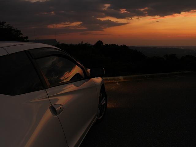キゴ山から見た夕焼け 愛車と