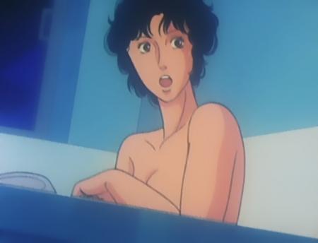 キャッツアイ38 来生瞳の胸裸入浴シーン