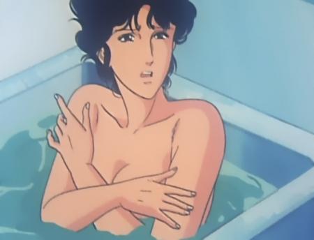 キャッツアイ42 来生瞳の胸裸入浴シーン