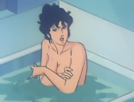 キャッツアイ46 来生瞳の胸裸入浴シーン