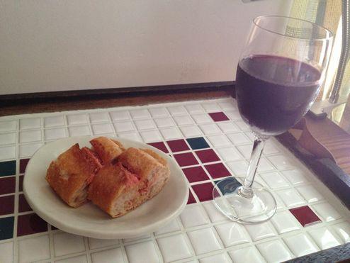 めんたいフランスとワインw