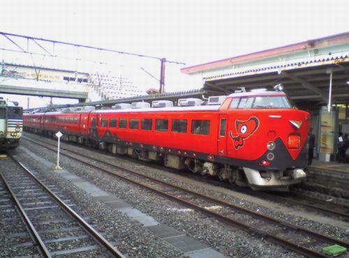 仙セン485系A1・A2編成「あいづ」(赤べぇ塗装・2010年3月6日・会津若松)