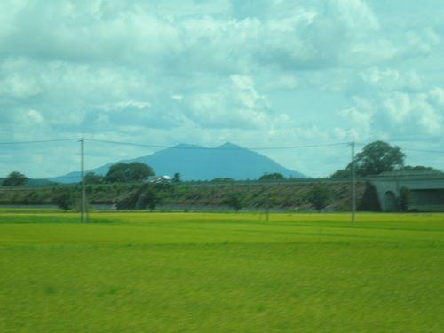 真岡鐵道から見た筑波山(寺内~真岡間・2012年9月1日)
