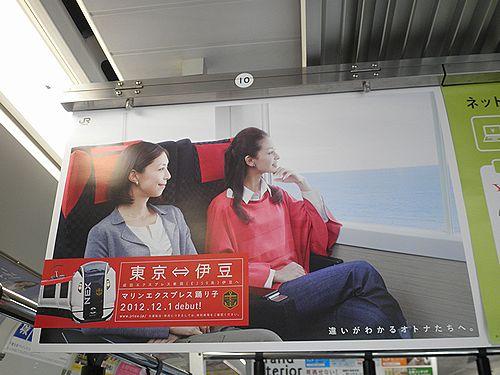 JR東日本「マリンエクスプレス踊り子」ポスター(2012年11月10日・青梅線車内)
