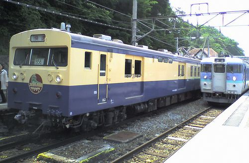 クモユニ143-3(長ナノ)(2008年7月5日・姨捨駅)