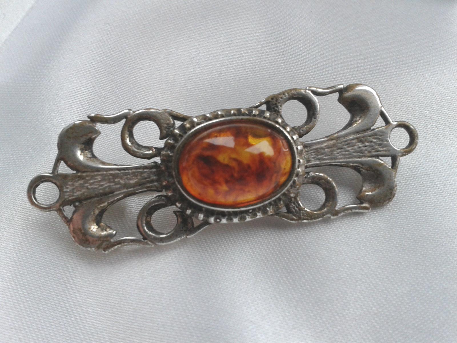 Beautiful Danish KNUD GEORG JENSEN Art Nouveau Silver Amber Bar Brooch-1