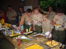 $アラバマ生活雑記帳-boyscout camp dinner