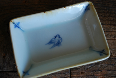 鳥図長方形皿