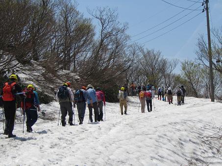 雪残る車道を歩く森立コース参加者
