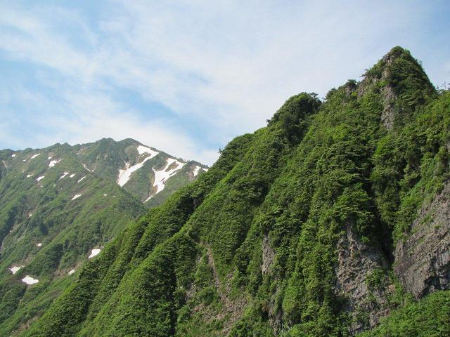 前中間部からの荒沢岳と前(中央岩の左斜面を登る)