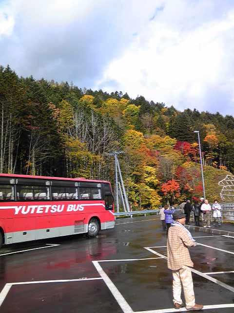 バスと紅葉