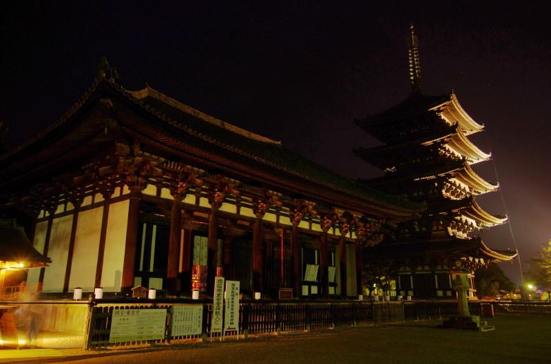 興福寺 東金堂と五重塔ライトアップ