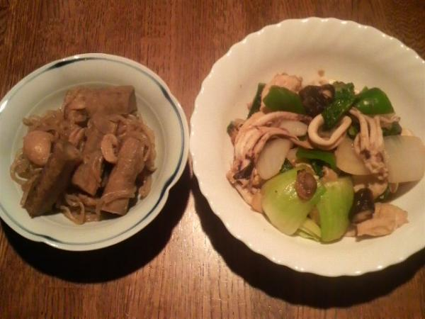 八宝菜と鳥皮ごぼう