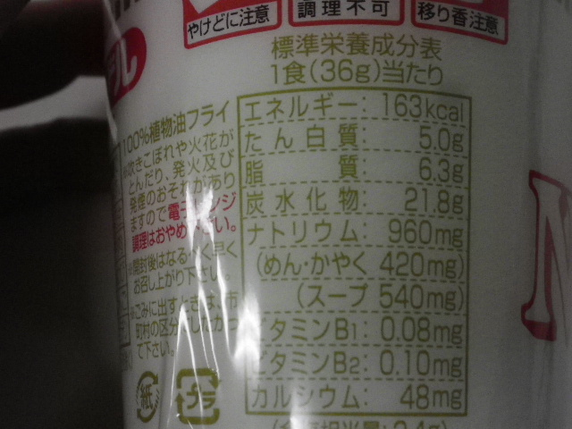 カップヌードル糖質