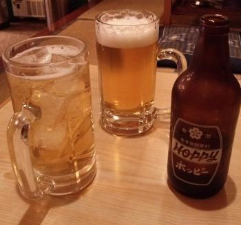 ホッピーとビールで乾杯