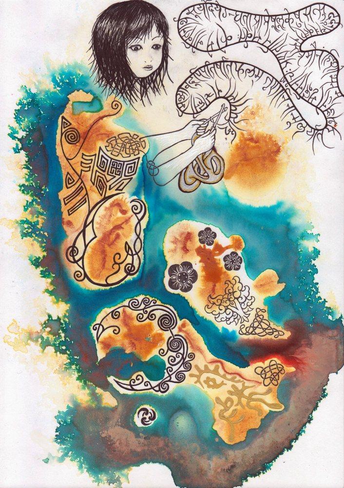 デーヴァナーガリーの詩歌でモノドロミーの心臓を編む女