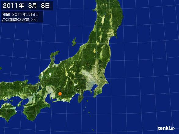 2011年3月8日地震分布