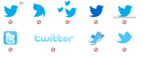 Twitterロゴは2012年6月6日に鳥がスリムになり、「ヒ」は使用禁止になった
