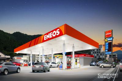 ガソリンスタンド GS 給油所 外観パース 夕景 夜景 CG 手描きパース 手書きパース フォトショップ 写真加工