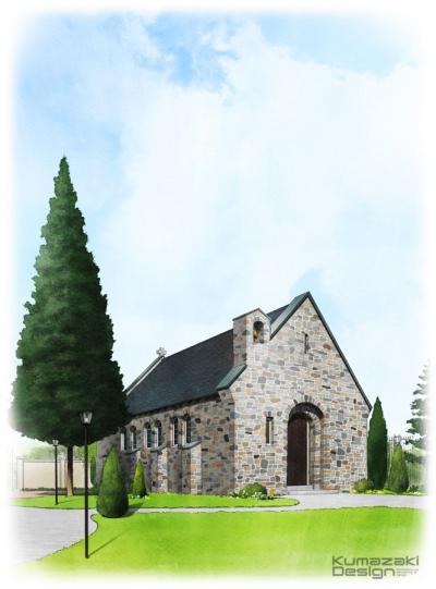 ブライダル施設 ウェディング 結婚式場 レストラン チャペル 教会 外観パース 鳥瞰パース 手書きパース フォトショップ着色
