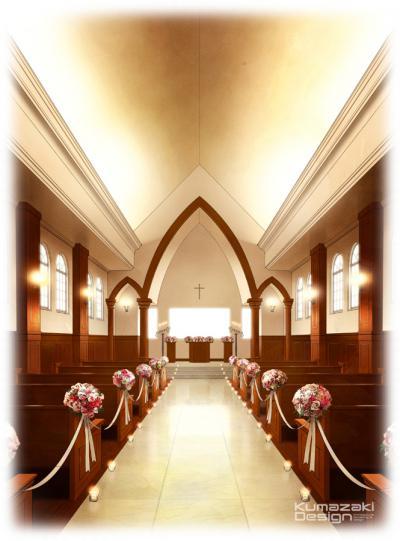 ブライダル施設 ウェディング 結婚式場 レストラン チャペル 教会 内観パース インナーパース 手書きパース フォトショップ着色