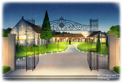 ブライダル施設 ウェディング 結婚式場 レストラン チャペル 教会 夜景 夕景 外観パース 鳥観パース イメージイラスト 手描きパース 手書きパース フォトショップ着色