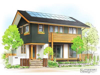 一戸建て住宅 木造住宅 パース 外観パース 手書きパース 手描きパース フォトショップ