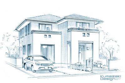 住宅 一戸建て住宅 えんぴつスケッチ 鉛筆パース ラフスケッチ イメージパース 外観パース 手描きパース 手書きパース