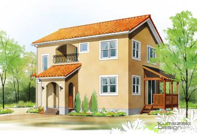 一戸建て 住宅 南欧風 洋風 木造 外観パース イメージ イラスト 手描き 手書き フォトショップ