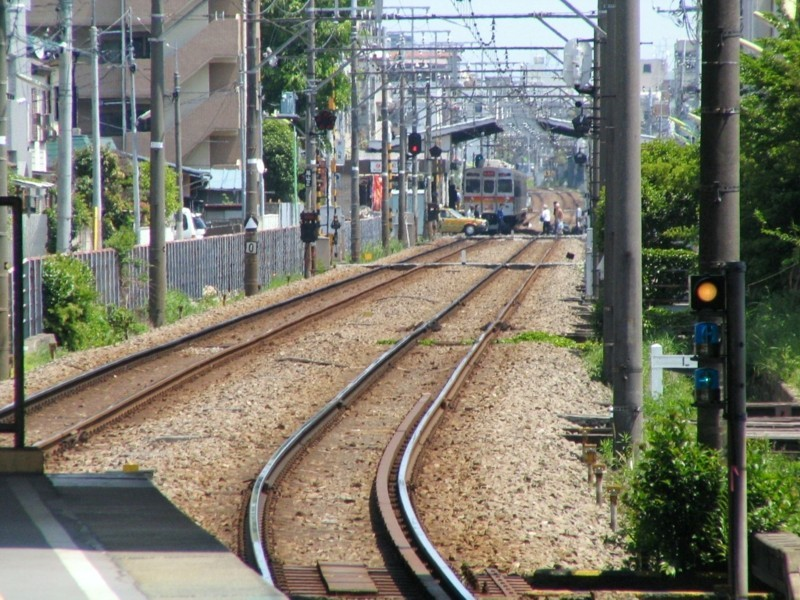 等々力駅から尾山台駅を望む