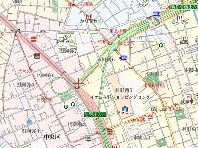 与野JCTの地図
