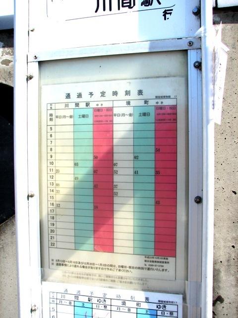 関宿城博物館 朝日バス時刻表