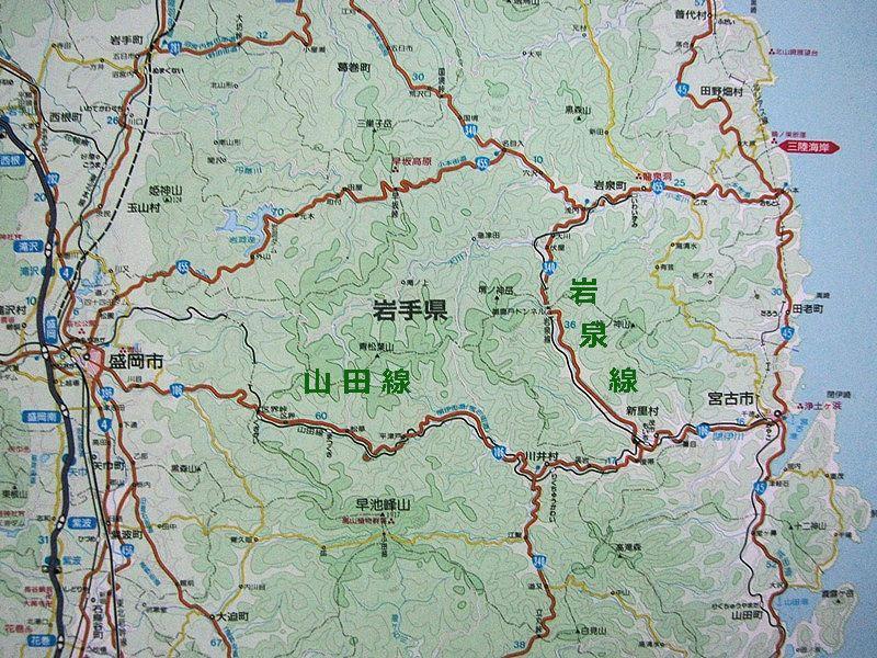岩泉線周辺の地図