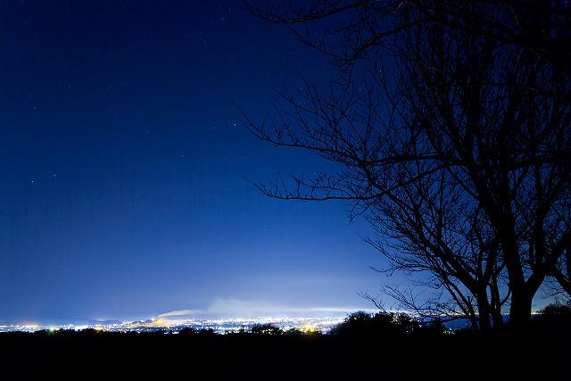 ふたご座流星群 壺瓶山 夜景