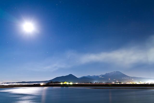 大山 夜景 日野川