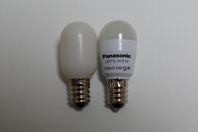 LEDナツメ球 LED小丸電球 LDT1LHE12 比較
