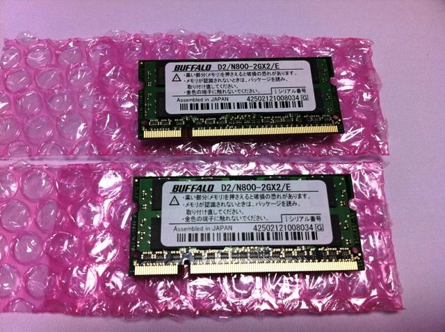 BUFFALO ノートPC用増設メモリ  D2/N800-2GX2/E 4GB