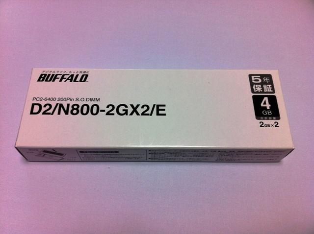 BUFFALO ノートPC用増設メモリ  D2/N800-2GX2/E 2G×2枚
