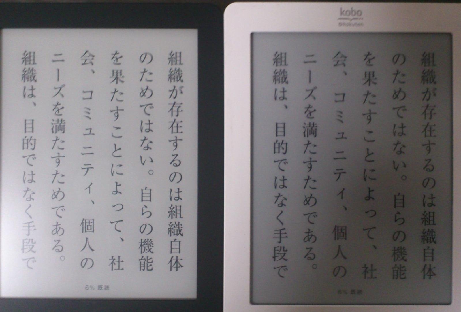 kobo touch glo 文字の鮮明さ 違いは何?