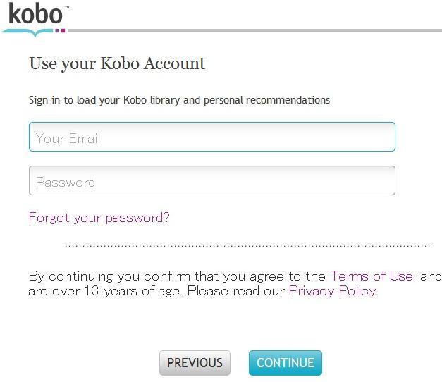 コボタッチ kobo touch ブラウザーで読む